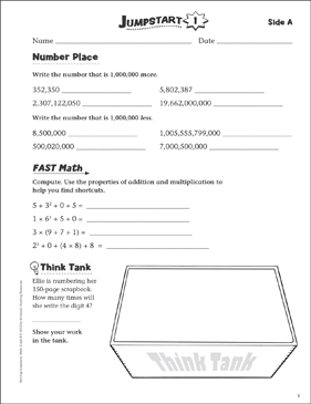Independent Practice: Grade 6 Math Jumpstart 1 - Printable Worksheet