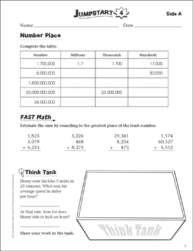 Independent Practice: Grade 6 Math Jumpstart 4 - Printable Worksheet