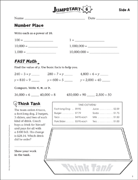Independent Practice: Grade 6 Math Jumpstart 6 | Printable ...