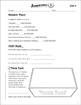 Independent Practice: Grade 6 Math Jumpstart 9 - Printable Worksheet