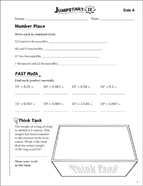 Independent Practice: Grade 6 Math Jumpstart 12 - Printable Worksheet