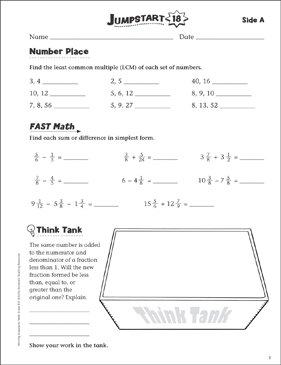 Independent Practice: Grade 6 Math Jumpstart 18 - Printable Worksheet