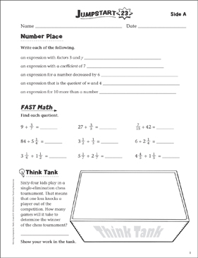Independent Practice: Grade 6 Math Jumpstart 23 - Printable Worksheet