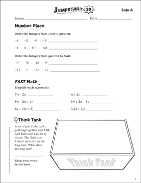 Independent Practice: Grade 6 Math Jumpstart 30 - Printable Worksheet