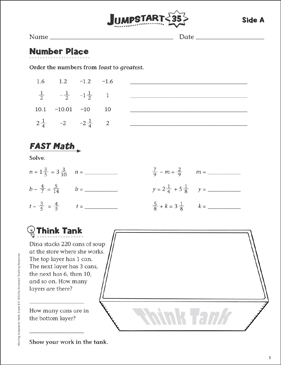 Independent Practice: Grade 6 Math Jumpstart 35 - Printable Worksheet