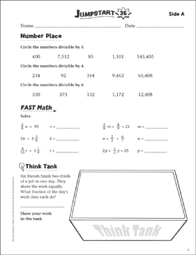 Independent Practice: Grade 6 Math Jumpstart 36 - Printable Worksheet