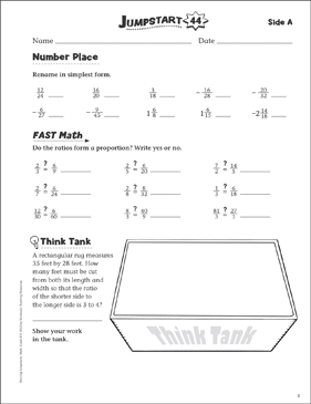 Independent Practice: Grade 6 Math Jumpstart 44 - Printable Worksheet