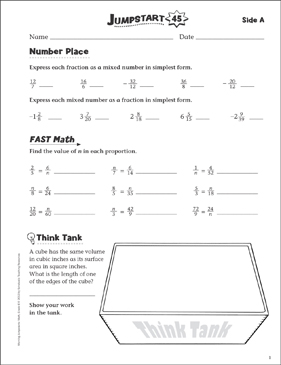 Independent Practice: Grade 6 Math Jumpstart 45 - Printable Worksheet