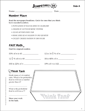 Independent Practice: Grade 6 Math Jumpstart 50 - Printable Worksheet