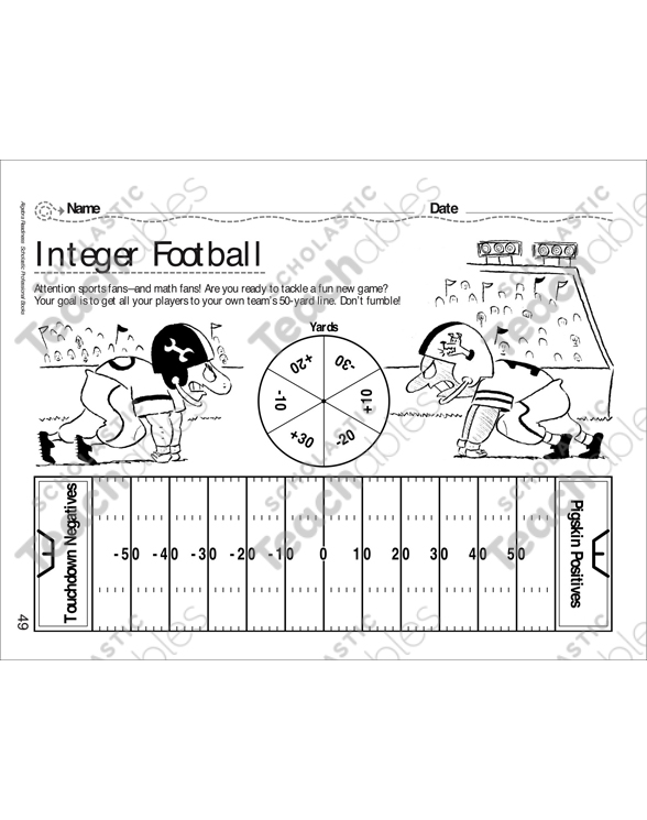 Integer Football | Printable Lesson Plans, Ideas and Number ...