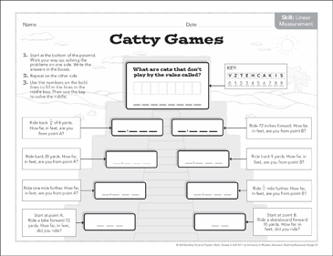 picture regarding Printable Measurement Games named Catty Online games (Linear Sizing): Math Pyramid Puzzle