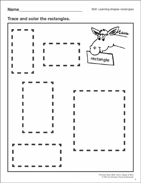 rectangle coloring pages for preschoolers | Rectangles: Preschool Basic Skills (Shapes) | Printable ...
