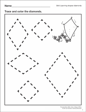 Diamonds Preschool Basic Skills Shapes Printable