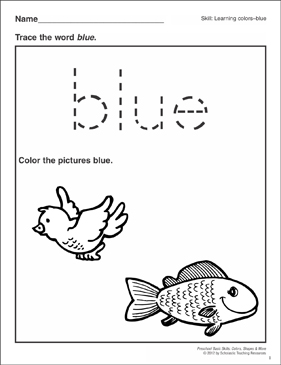 per school coloring pages | Blue: Preschool Basic Skills (Colors) | Printable Skills ...