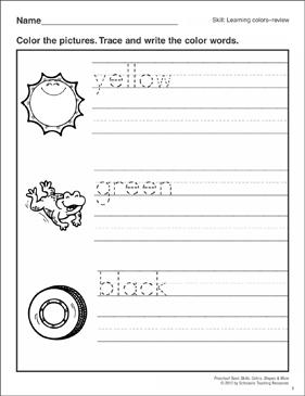 colors review yellow green black preschool basic skills colors printable skills sheets. Black Bedroom Furniture Sets. Home Design Ideas