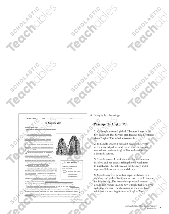 To Angkor Wat: Close Reading Passage | Printable Lesson