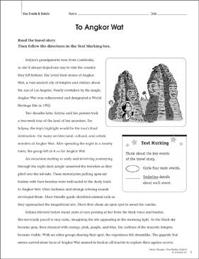 To Angkor Wat: Close Reading Passage | Printable Lesson