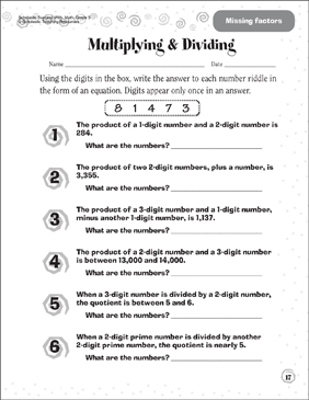 Multiplying & Dividing (Sheet 1) - Printable Worksheet