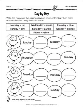 Day By Day (Days of the Week) - Printable Worksheet