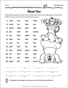 Rhyme Time (Rhyming Words: Grade 1) | Printable Skills Sheets