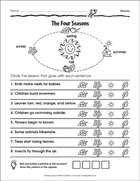 The Four Seasons - Printable Worksheet