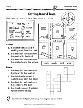 Getting Around Town (Directional Words) - Printable Worksheet