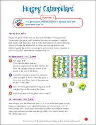File-Folder Game - Addition: Hungry Caterpillars (addition facts from 11 to 18) - Printable Worksheet