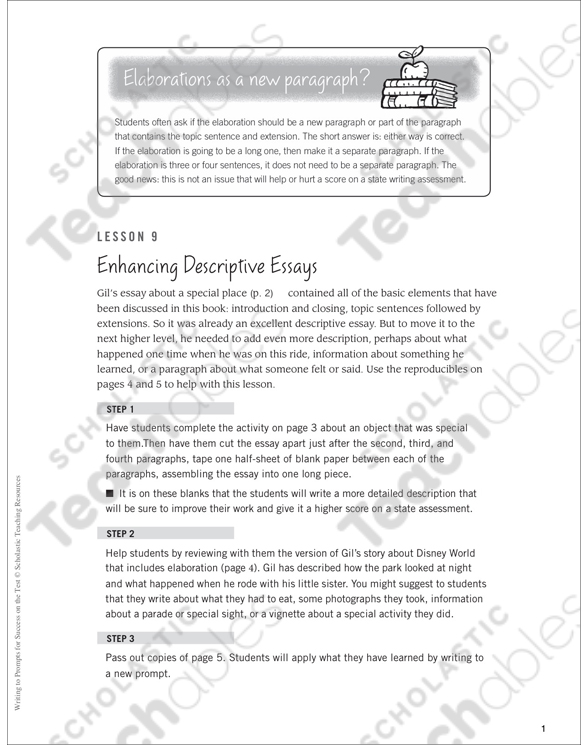 Enhancing Descriptive Essays Writing To Prompts Printable Test