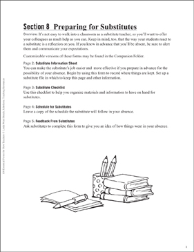 Preparing for Substitutes: Essential Forms for Teachers - Printable Worksheet