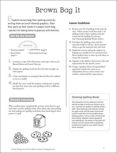 Brown Bag It: Super Spelling Center - Printable Worksheet