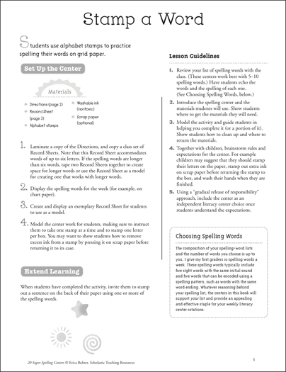 Stamp a Word: Super Spelling Center - Printable Worksheet