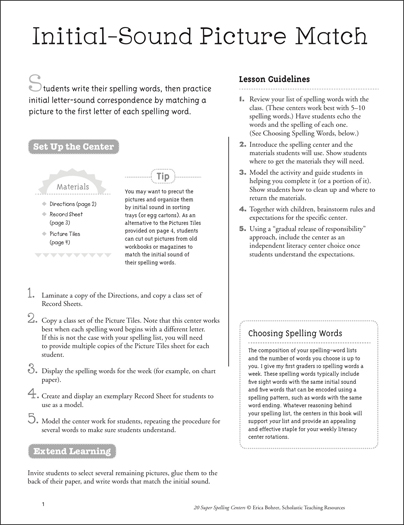 Initial-Sound Picture Match: Super Spelling Center - Printable Worksheet