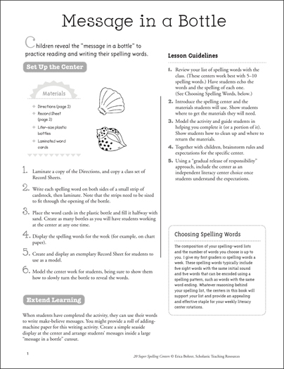 Message in a Bottle: Super Spelling Center - Printable Worksheet