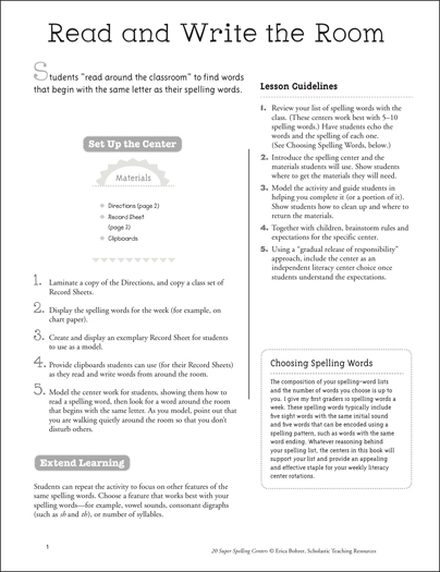 Read and Write the Room: Super Spelling Center - Printable Worksheet