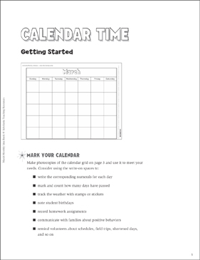 Calendar Time: March Ideas & Activities - Printable Worksheet