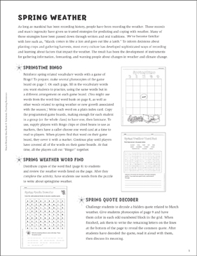 Spring Activities and Projects - Printable Worksheet