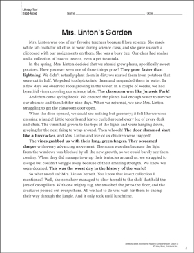 Mrs. Linton's Garden: Reading Homework - Printable Worksheet