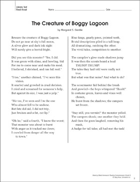 The Creature of Boggy Lagoon: Reading Homework - Printable Worksheet