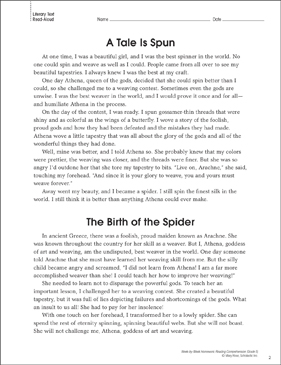 Athena & Arachne (Paired Texts): Reading Homework - Printable Worksheet