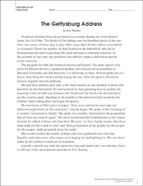 The Gettysburg Address: Reading Homework | Printable Texts and ...