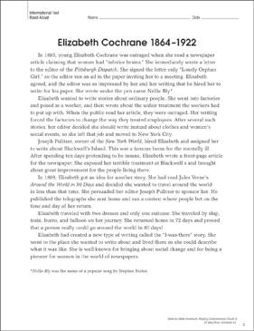 Elizabeth Cochrane (1864–1922): Reading Homework - Printable Worksheet