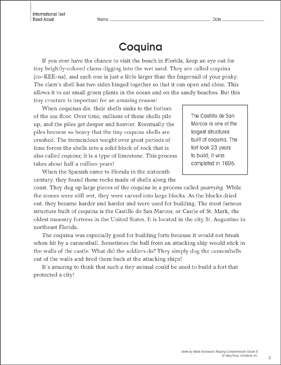 Coquina: Reading Homework - Printable Worksheet