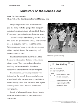 Teamwork on the Dance Floor (Main Idea & Details): Close Reading - Printable Worksheet