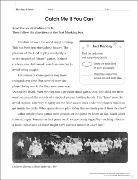Catch Me If You Can (Main Idea & Details): Close Reading - Printable Worksheet