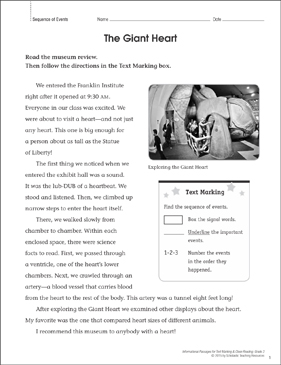The Giant Heart (Sequence of Events): Close Reading - Printable Worksheet