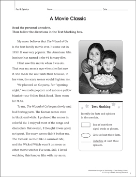 A Movie Classic (Fact & Opinion): Close Reading - Printable Worksheet