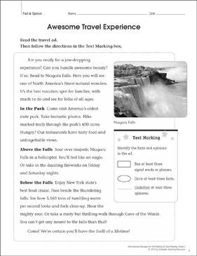 Awesome Travel Experience (Fact & Opinion): Close Reading - Printable Worksheet