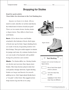 Shopping for Skates (Compare & Contrast): Close Reading - Printable Worksheet
