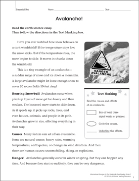 Avalanche! (Cause & Effect): Close Reading - Printable Worksheet