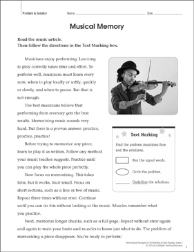 Musical Memory (Problem & Solution): Close Reading - Printable Worksheet
